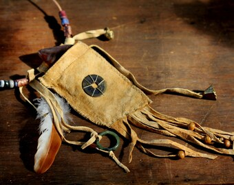 Primitive Talisman Chamois Pouch or Medicine bag. holds gemstone and includes jade ring.One of a kind.