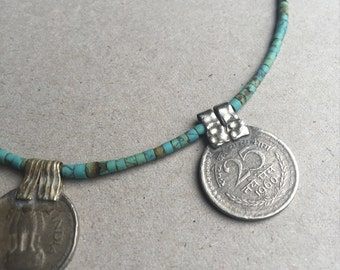 turqoise vintage coin necklace