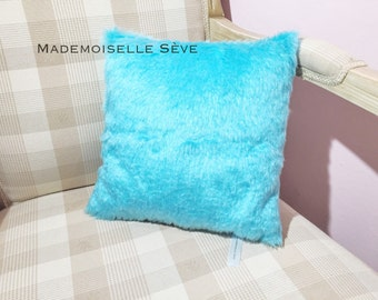 Cushion fake fur, turquoise blue, limited quantity