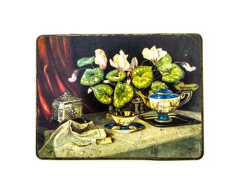 Vintage English Tin, Chinoiserie Tin Box, Carr and Co Biscuit Tin