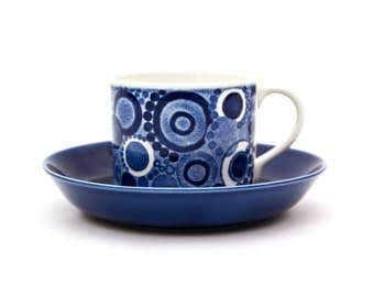 Blue Rörstrand Pi Cup and Saucer