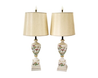 A Pair of Hollywood Regency Neoclassical Porcelain Lamps
