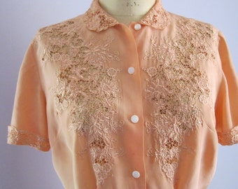 Rare Vintage Silk Blouse From 1940's - Peach Silk Blouse