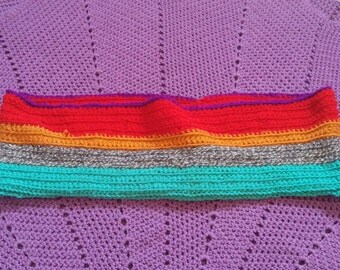 Crocheted Colorful Infinity Scarf