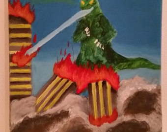 godzilla, movie monsters, monster art, strange art, weird art, freaky art, alternative art, acrylic painting, 11×14 canvas