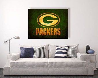 Green Bay Packers vintage style Canvas Print, vintage football decor, football room decor, room decor for men, apartment decorating ideas