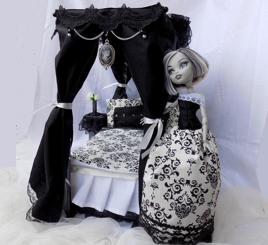 Black And White Gothic Victorian Bedroom Doll Furniture Pro