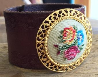 Leather Floral Petit Point Cuff Bracelet