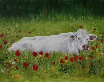 Fine Art Print, Cow in Poppy Field