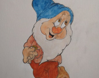 Bashful from Snow White and the Seven Dwarves - Watercolor