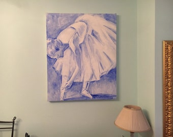 acrylic painting on canvas blue ballerina 80x100