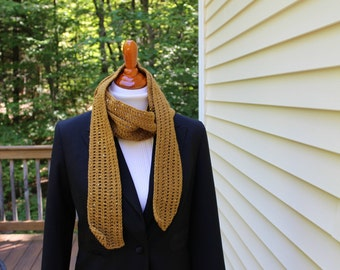 Long Sequin Scarf, Brown Scarf, Crochet Scarf, Long Skinny Scarf
