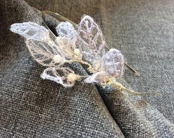 Zoe// Embroidered Leaf Bridal Headband// Bridal Headband // Bridal Accessory