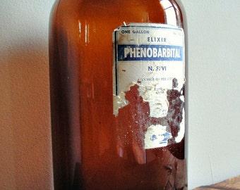 Found Vintage Amber Brown Bottle With Elixir Label