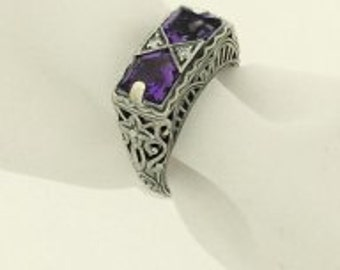 Amethyst Sterling & Topaz Antique Styled Ring