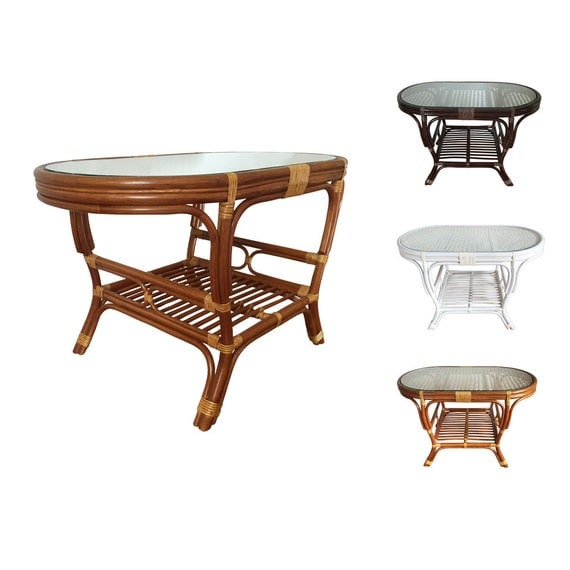 Rattan Coffee Table Etsy: Rattan Oval Coffee Table Model Alisa With Glass Top 3Colors