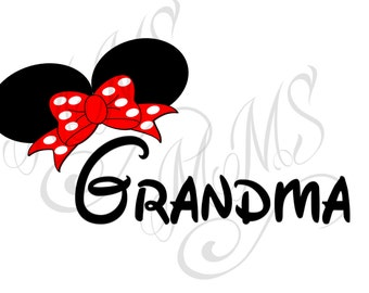 Grandma Family Grandma Mickey Mouse Head Disney Family Download Iron On Craft Digital Disney Cruise Line Magnet Shirts