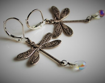 Large Silver Dragonflies earrings