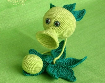 Peashooter Plants vs Zombies Crochet toy Gamer's gift PC game character PvZ plush amigurumi toy Kids gift I'll MAKE this item for Your ORDER