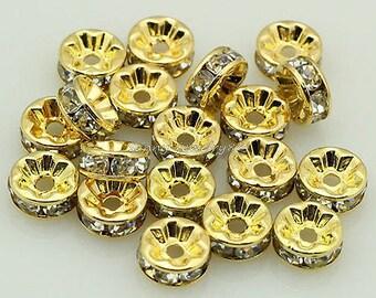 Rhinestone Spacer Beads, Rhinestone Beads, Gold Plated Spacer Beads, Gold Plated Rhinestone Beads, Spacer Beads, Clear Spacer Beads,