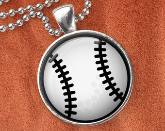 Cute Baseball pendant on silver ball chain, vector baseball style, elegant necklace