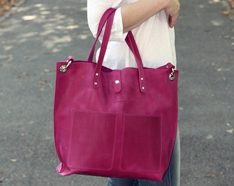 Free shipping! Leather bag,  leather shopper bag, brown tote bag, women bag, leather tote bag, Leather handbag, leather  Shoulder bag women