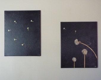 Original Acrylic Painting Set of Metallic Dandelions