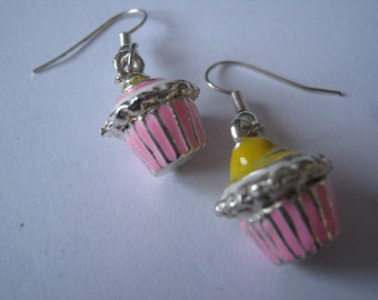 beautiful cup cake earrings in pink and yeallow