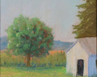 White Barn Original Art Landscape Pastel Painting