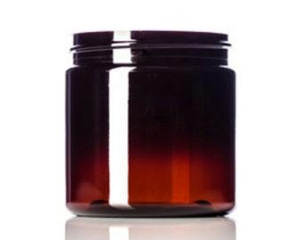 25 ~ 8oz. Amber PET Single Wall Plastic Jars ~ BULK25