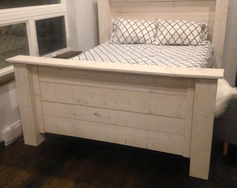 White Washed Queen Size Bed