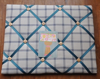 Handmade checked fabric padded Pinboard / noticeboard