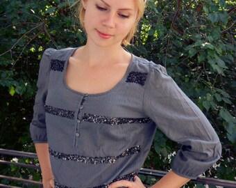 Hippie blouse, Boho tunic, Spring Hippie grey blouse, boho ethnic blouse, hippie tunic, medium-sleeved tunic, oriental tunic, hippie blouse