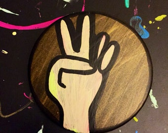 Peace Sign Hand-painted Button