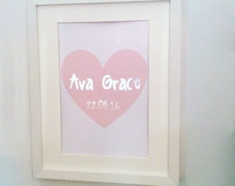name/ birth date print. Available in other colours!