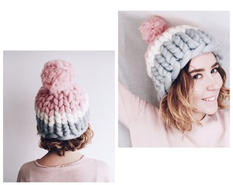 Helsinki Hat, Super chunky hat with pom pon, Chunky Hat, Super Bulky Hat, Knit Hat. Merino wool. Best Price