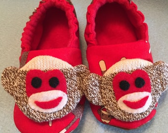 Child's Sock Monkey Slippers fleece lined Non-slip sole