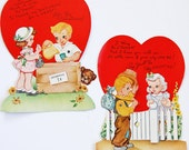 Set of 2 XL Mechanical Valentines - Ephemera - General Store - Valentine - Mixed Media - Altered Art - Collage - Scrapbooking - Card