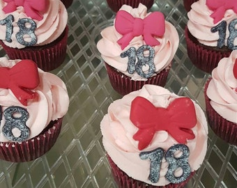 Edible cupcake toppers for Minnie mouse mickey mouse bows ears age36 pieces