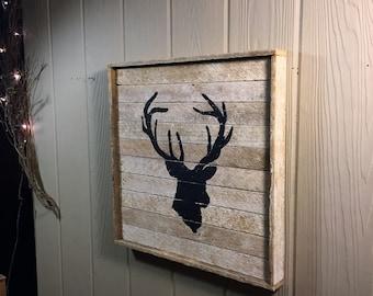 Rustic Deerhead, wall decor, reclaimed wood.