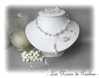 Ornament wedding ivory and Pink Pearl Alice ' Tradition' 3 parts