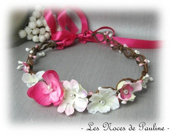 Crown of flowers wedding fuchsia and white Orchid