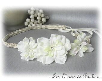 Headband wedding ivory Satin flowers Alison