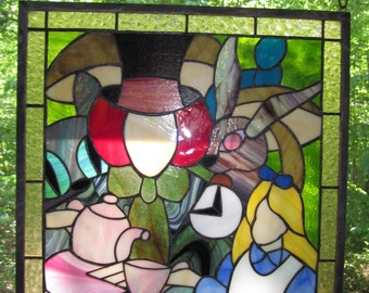 """Alice's Tea Party 18""""x20"""" stained glass, 24 different colors,Mad hatter,Cheshire cat,White rabbit,Caterpillar,original design, one of a kind"""