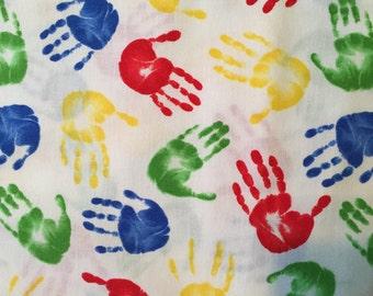 "Timeless Treasures, ""KIDZ"",  Primary Multicolored Hands"