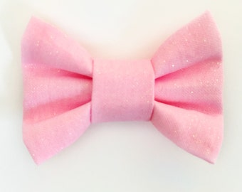 MINI Pink Glitter Bow, baby girl, baby clip, baby headband, baby gift, baby shower, girl toddler, toddler clip