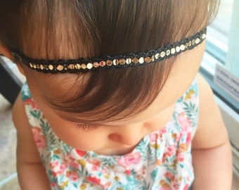 Black Sequin Halo Headband, baby headband, newborn photo prop, halo headband, baby girl, girl toddler, baby gift, headband
