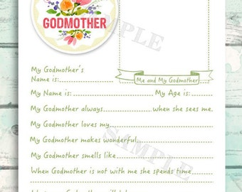 Gift for Godmother, Printable Godmother Gift, Cute All About My Godmother Questionnaire for kids, Mother's Day Gift, sweet kid's interview