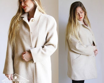 Vintage Button Up Wool Coat // Cream Coat // Herman Kay // Size 6