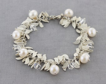 White, Leaf Fringe Pearl Bracelet - Swarovski Crystal, Sterling Silver - Style 2307 - Ready to Ship